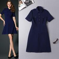 High Quality New Fashion Trend 2015 Spring OL Office Lady Epaulet Turn-Down Collar Short Sleeve Cotton Blend Pocket Dress Basic