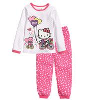 1 Sets retail. 2015 new Hello Kitty girls suit (T-shirt + pants), 100% cotton cartoon suits, suit children wave point.