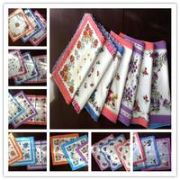 New Arrival cheap 21pcs/lot floral handkerchief women hanky pocket square cotton 28*28cm wholesale