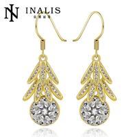 E973-AGraceful Bijoux Tassel Dangle Golden Earrings Big Drop Earrings Austrian Crystal Statement Christmas Gift For Women