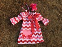 2015 baby girls  wave Valentine dress set