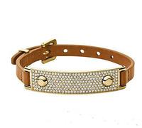 2015 New .  Fashion Brand quality Pave crystal Metal ID letter bracelet pu leather bracelet  for women men loom bands bijoux
