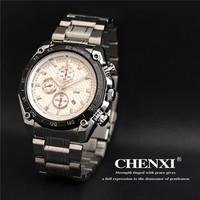 2015 New Brand CHENXI Fashion Men Calendar Sports Watch water resistant Full Steel Casual Watch Analog Quartz Watch relogio
