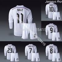 2014 Real madrid long sleeve jerseys uniforms kit cristiano ronaldo james rodriguez chicharito isco karim benzema bale