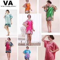 Womens Plus size Nightgown Sleepwear Short Sleeve Floral Print Rayon Silk Bath Robes Indoor  Clothing Nightwear Bathrobes L0012