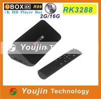 Original UBOX R89 Android TV BOX 4.4 RK3288 Quad Core 1.8GHz 2G/16G H.265 XBMC HDMI 4K*2K WiFi RJ45 OTG SPDIF Smart TV receiver