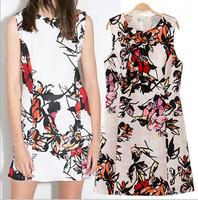 Women Summer Dress 2015 Vestidos Stylish Sweet Floral Print Brand Dress Vintage O Neck Sleeveless Casual Slim Lady Party Dresses