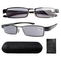 R11019-Gray Lens Eyekepper Patent Lightweight Stainless Steel Frame Gray Lens Sun Readers Reading Glasses