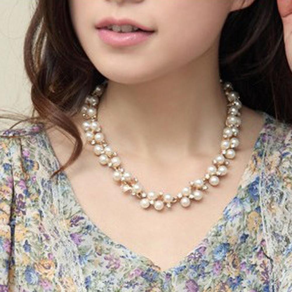 Hot Women Female Jewelry Artificial Pearl Rhinestone Diamond Short Necklace(China (Mainland))