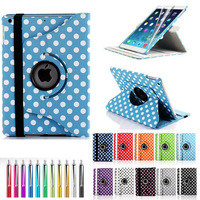 For iPad 2 3 4 PU Smart Stand Case Cover 360 Rotating with Screen Protective Film Stylus Pen Free Shipping as Gift