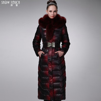 2015 Winter Thicken Warm Woman Down jacket Coat Parkas Outerweat Luxury Plus Size 3XXXL Long Hooded Cold Fox Fur collar Printing