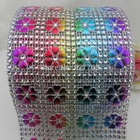 (CM799)10 Yard Sparkle 5 Color Heart Rhinestone Crystal Diamond Mesh Wrap Roll Ribbon