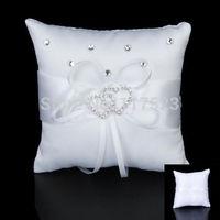 Fashion Satin Double Heart Gem Wedding Party Pocket Ring Pillow Cushion