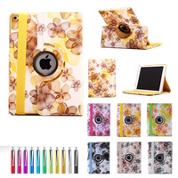 For iPad 6 / air 2 PU Smart Stand Case Cover 360 Rotating with Screen Protective Film Stylus Pen Free Shipping as gift