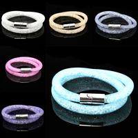 Factory price Hot sale Multicolor Mesh Double Stardust Bracelet with tiny resin crystal filled magnetic Wrap Bracelet CN-JDB001
