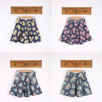 Women A-Line Mini Skirt Fashion 2015 Spring Tropical High Quality Denim High Waist Women Girls Skirt 324