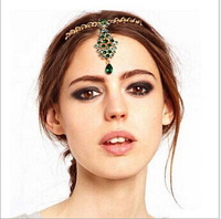 wholesale 12pcs/lot Party Crysta Hair Cuff Pin Head Band Chains Shiny emerald Tassels Fringes Bohemia pendant Hair jewelry