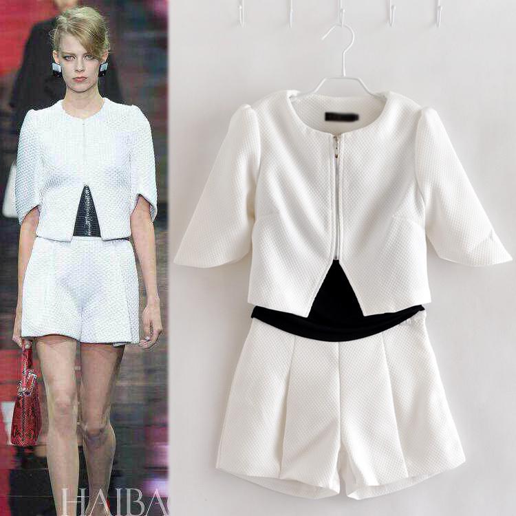 European Fashion Clothing Set Casual Sweatshirts 3 Piece Set Women's Clothing White T-Shirt Jacket Top and Shorts Zip Cardigan(China (Mainland))