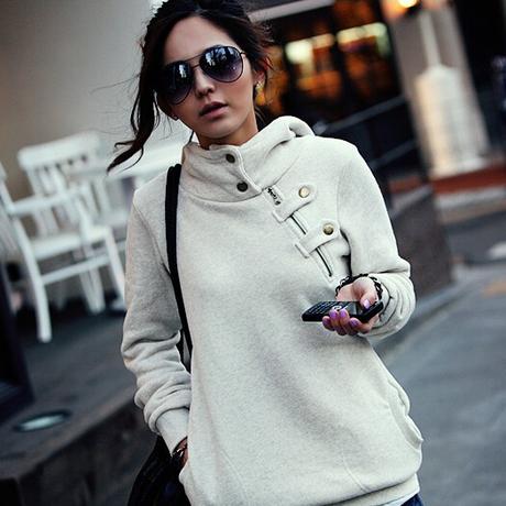 2015 Fall Winter Women Hoodie Korean Casual Botton Up Coolar Long Sleeve Fleece Knit Hoodies Pullover Black Gray Women Top T16(China (Mainland))