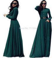 HOT WOMEN GREEN LONG SLEEVE FULL SWEEP CHIFFON MAXI DRESS SHEER GOWN CRUISE #2