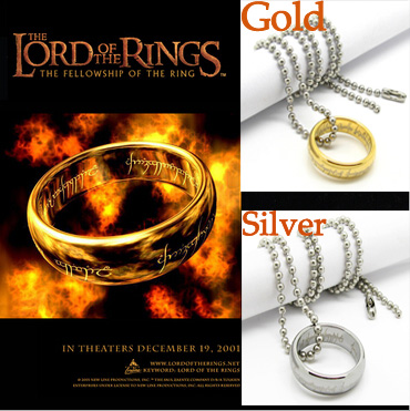 New Fashion Retro Gold Silver Plated Titanium Steel the hobbit and the lord of the rin g necklace Harry Potter style man jewelry(China (Mainland))