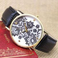 Fashion New Round Dial Flower  Leather Band Buckle Quartz Unisex Wrist Watch Gift W041401-3
