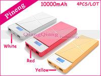 Russia Free Shipping ! 4PCS/LOT 100% Original Pineng Power Bank PN-983 10000mAh Dual USB Portable Battery Charger For Phone