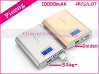 Russia Free Shipping ! 100% Original Pineng Power Bank PN-988 10000mAh Dual USB Portable Battery Charger For Phones