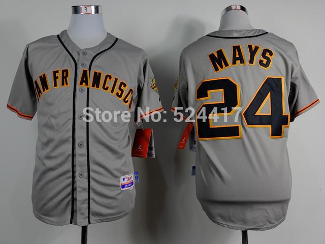 2015 New Cheap Baseball Jerseys San Francisco Giants 24 Willie Mays men's Embroidery Baseball Jerseys(China (Mainland))