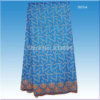 Item No.3016!2015 new fashion cotton lace sea blue color embroidery cotton lace fabric! wholesale Swiss voile lace fabric !