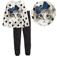 Hot sale 2015 new Hello Kitty girls suit (T-shirt + pants), Children's cartoon fashion suits, 100% cotton girls wave point set.