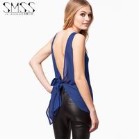 SMSS European and American fashion sexy lace halter chiffon shirt round neck chiffon shirt free shipping