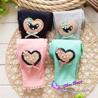 2015 Spring and Autumn Baby Girls Leggings ,sweet solid 2 heart thin Leggings pants,V1582