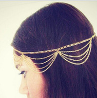 wholesale 10pcs/lot Gold/Silver New Fashion Design Tassel Head Chain Hair Jewelry Head Pieces for Girl