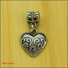 30pcs Fashion Big Hole Loose Beads Heart European Pendant Beads Fits Pandora Charms Bracelets & pendants diy Jewelry CQ074