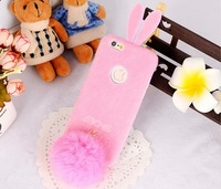 For Apple iPhone 6 Lovely Luxury Women Girl Long Ears Rabbit Bunny Fur Style With a Tail For iPhone 6 Case 4.7 inch Phone Case