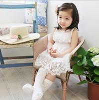 Girls lace princess dress 2015 kids party dress latest summer children polka dots tulle lace hollow flowers Crochet dress 4659