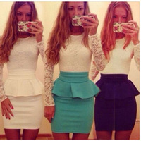 Hot Selling Women Sexy Lace Dresses Falbala Patchwork O-neck Long Sleeves vestido Formal Party Prom Mini Bodycon Dress CX657582
