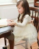 Latest 2015 Children Dresses Girls Korean Lace Collar Tulle Tutu Dress Kids Spring Long Sleeve Princess Dresses 4665