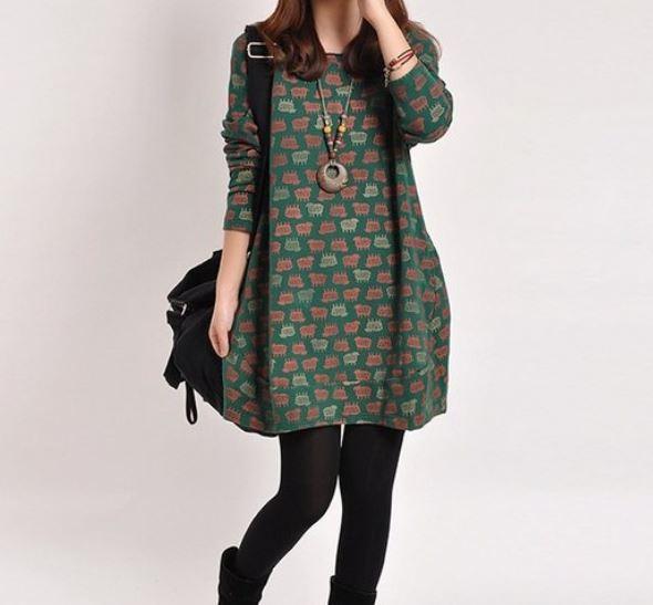 2015 Spring Long Sleeve Dress Casual Dress Women Plus Size Loose Vintage Print Medium-Long Dress Long-Sleeve Dress(China (Mainland))