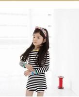 New 2015 Spring Girls Stripe Casual Dress Korean Children Cotton Korean Style Dresses Kid Striped Clothing 4667