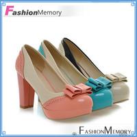 2015 Brand Sweet Design Color Mixed High Heels Round toe Women's Bow Pumps Shoes Platform Patent PU Pumps