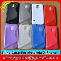 TPU Case for Motorola X Phone ,S Line TPU Case Anti-skid design for Moto X Phone, 10pcs/lot,Free shipping