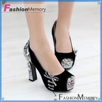 2015 Women's Fantastic Elegant Open toe Platform Pumps Bowtie Party Sexy Print Pumps High Thick Heels Wedding Shoes