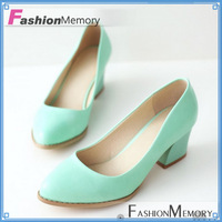 2015 Less Platform Patent PU Pumps Solid Casual Dress Vintage Shoes Fashion Chunky Heel Pointed toe Pumps Women