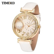 TIME100 Ladies' Jewelry Diamond Big Round Case Quartz Watches Reloj Mujer Rhinestone Leather Strap Women Dress Watches Relojes
