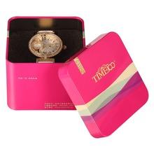 TIME100 Ladies Jewelry Diamond Big Round Case Quartz Watches Reloj Mujer Rhinestone Leather Strap Women Dress