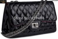 2015 European And American Style Women Black Messenger Bags Fashion Vintage PU Leather Plaid Fashion High Quanlity Popular Bags