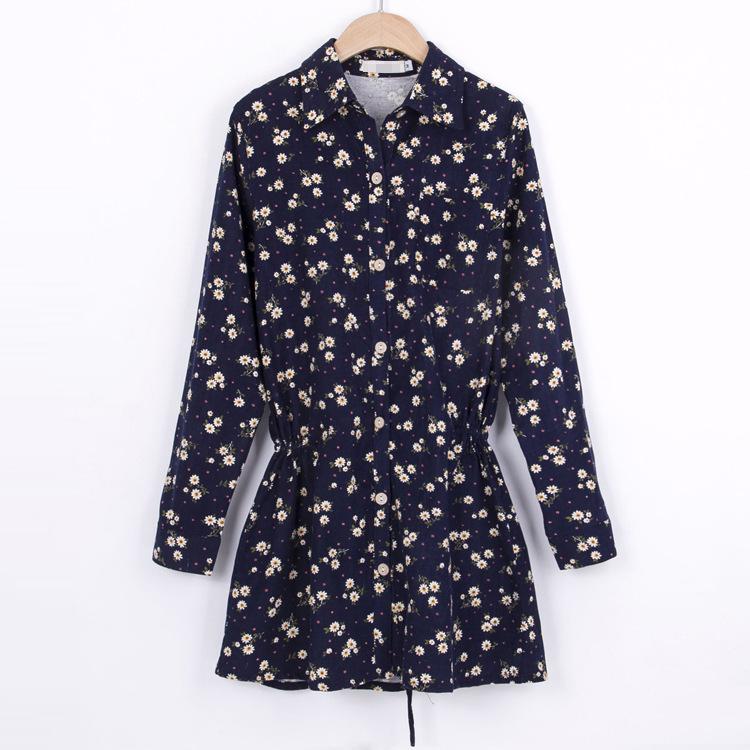 cute literary style long sleeve navy floral women corduroy dress(China (Mainland))