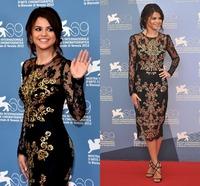Delicate Short  Handmade Golden Appliques Lace Vestido Longo O Neck Long Sleeve A Line Mid Calf Custom Made Evening Dresses
